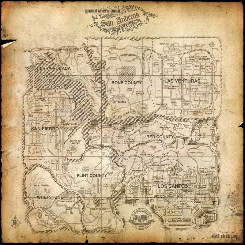 An old map of San Andreas