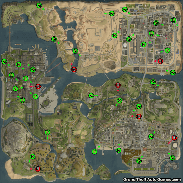 San Andreas GTA Map