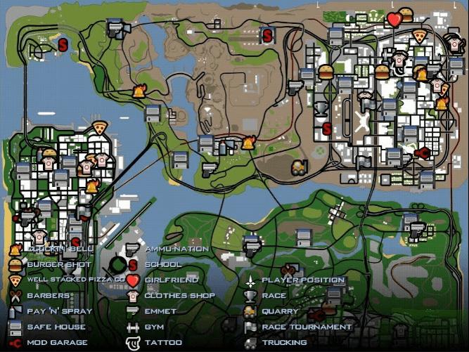 Here is GTA San Andreas full map